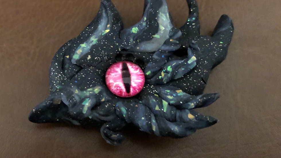 Black and Silver Dragon's Eye with Glass Center