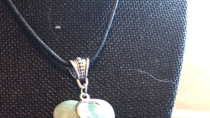 Silver moon on an Amazonite Heart