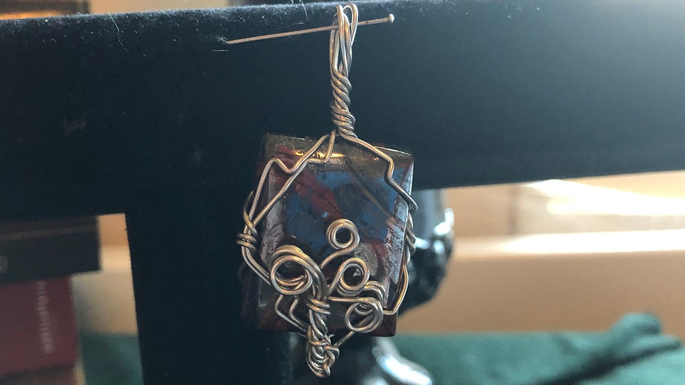 Hand-wrapped Tiger Iron Pendant