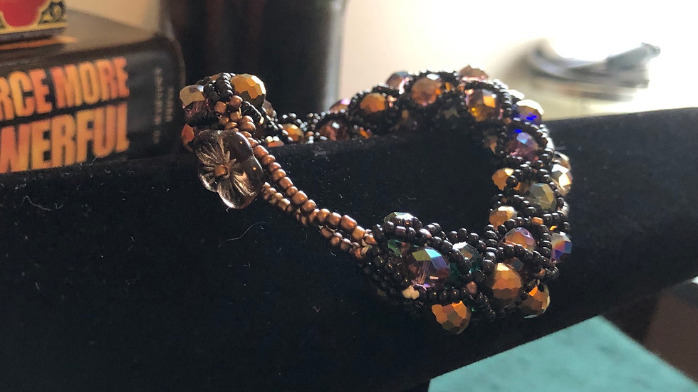 Hand Beaded Brown and Copper Bracelet