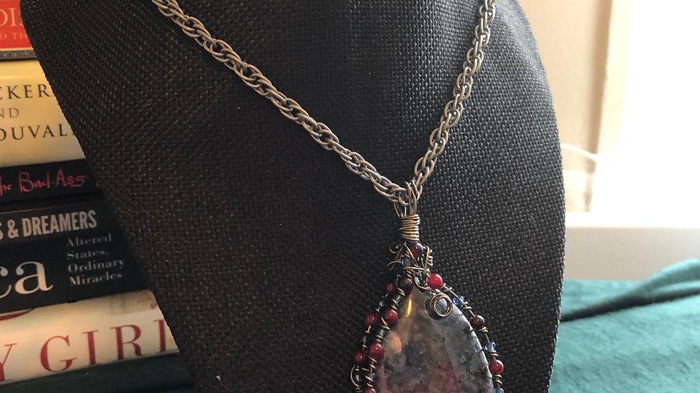 Handwrapped Larvikite with Fuchsite Pendant