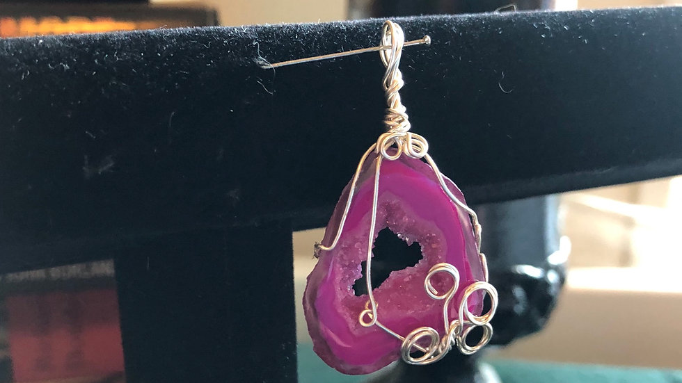 Pink Dyed Drozy Handwrapped Pendant