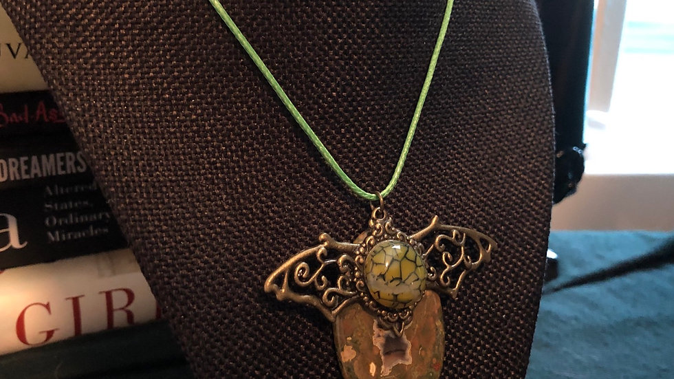 Ocean Jasper and Dragonvein Agate Bat Necklace with Green Cord