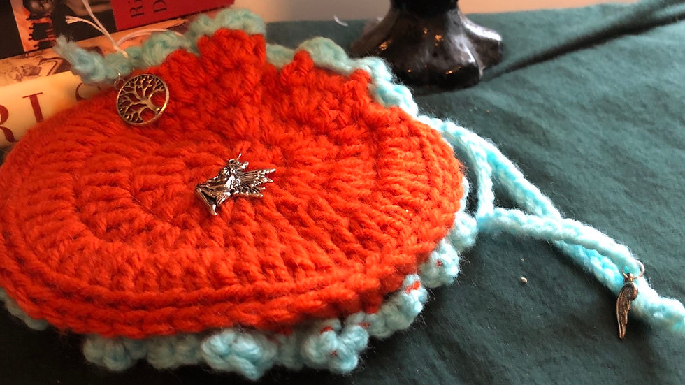 Knitted Orange and blue bag with Fairly Charm