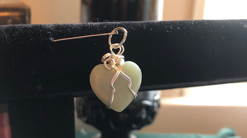Child size Amazonite Wrapped Heart Pendant