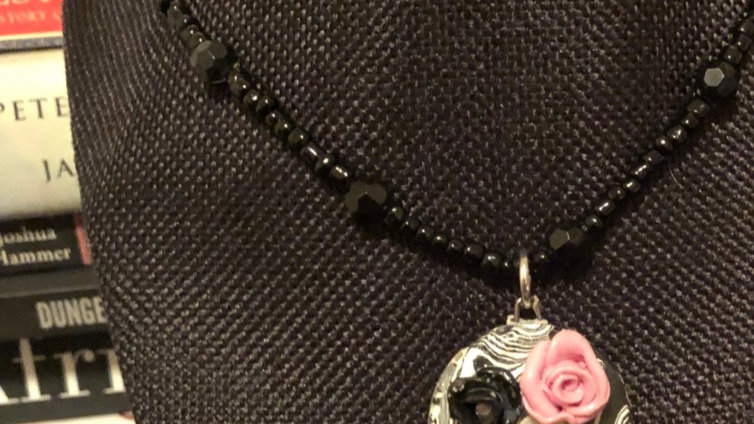 B&W Rose Clay Pendant