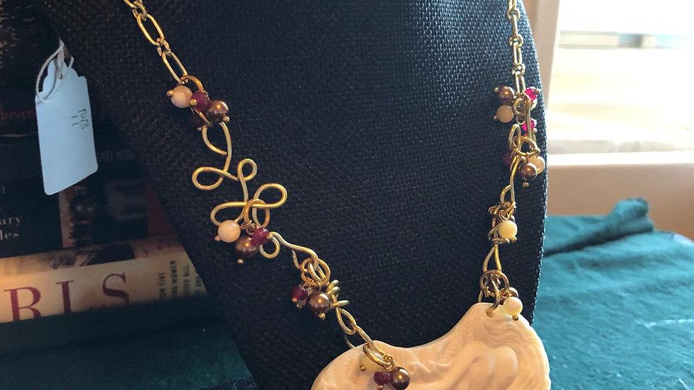 Carved Bone Aphrodite Beaded Necklace