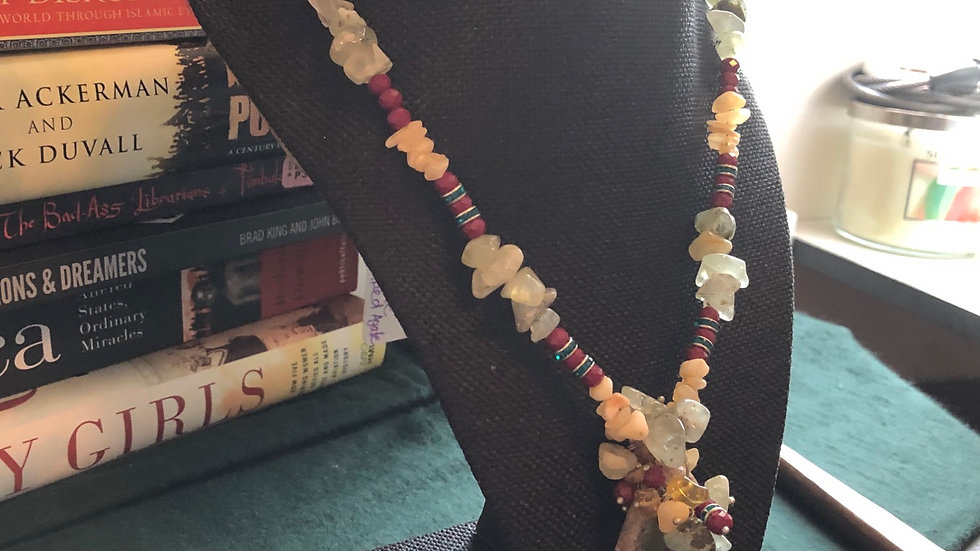 Prehenite, Yellow Calcite, and Striped Agate Necklace