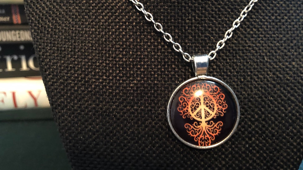 Peace and Tree of Life Necklace with Chain