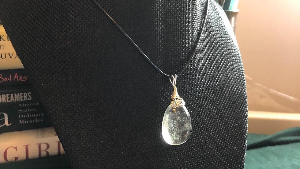 Garden Quartz Tear Drop Silver Charm Necklace
