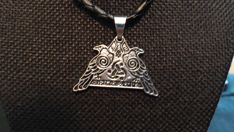 Runic Two Raven Necklace with Black Cord