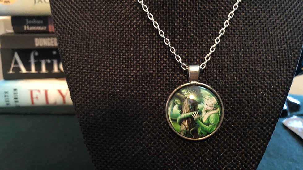 Elf with Green Dragon Necklace with Chain
