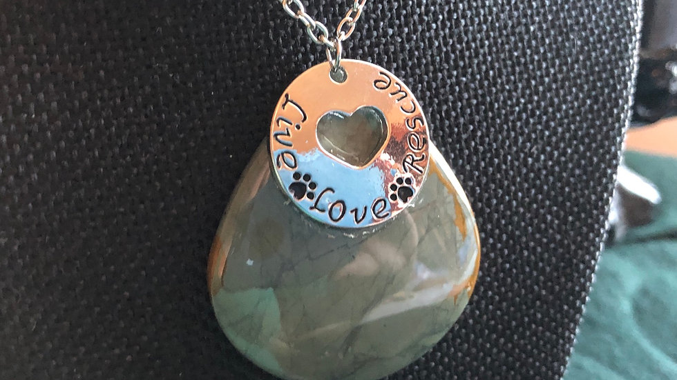 """Live, Love and Rescue"" Polychrome Necklace"