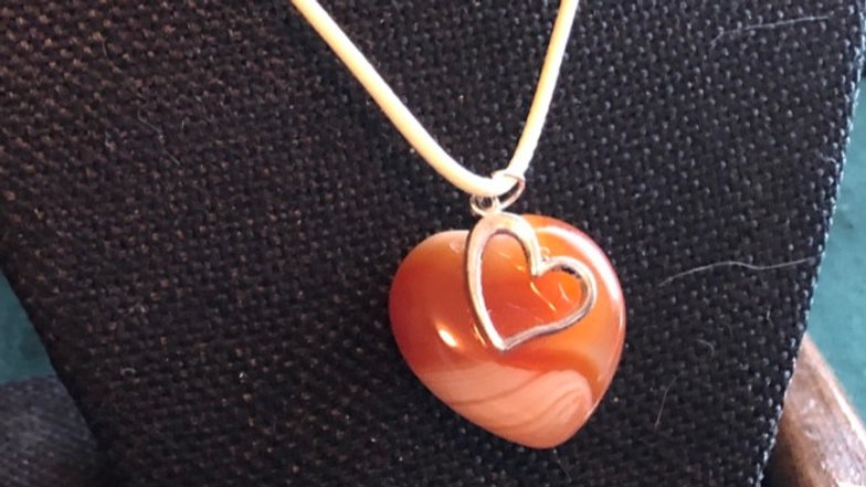 Carnelian Necklace with Heart Charm
