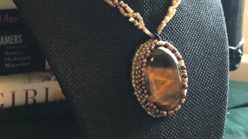 Tiger Eye Crocheted Beaded Necklace