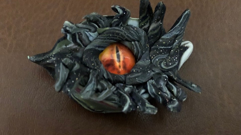 Small Black and Silver Dragon's Eye with Glass Center