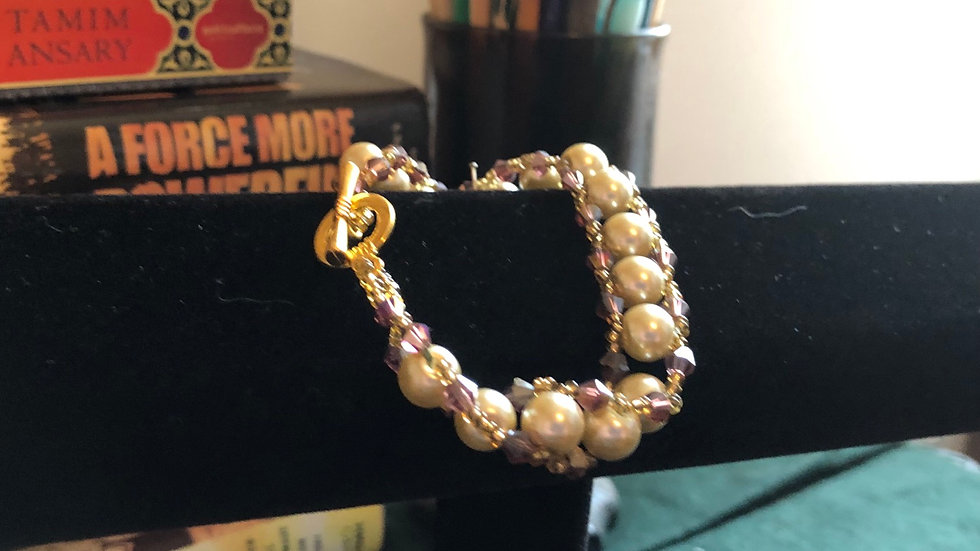 Beaded Pearl and Gold Bead Bracelet