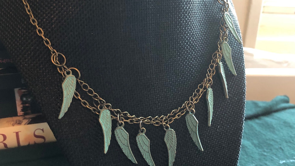 Antique Angle Wings Patina Necklace