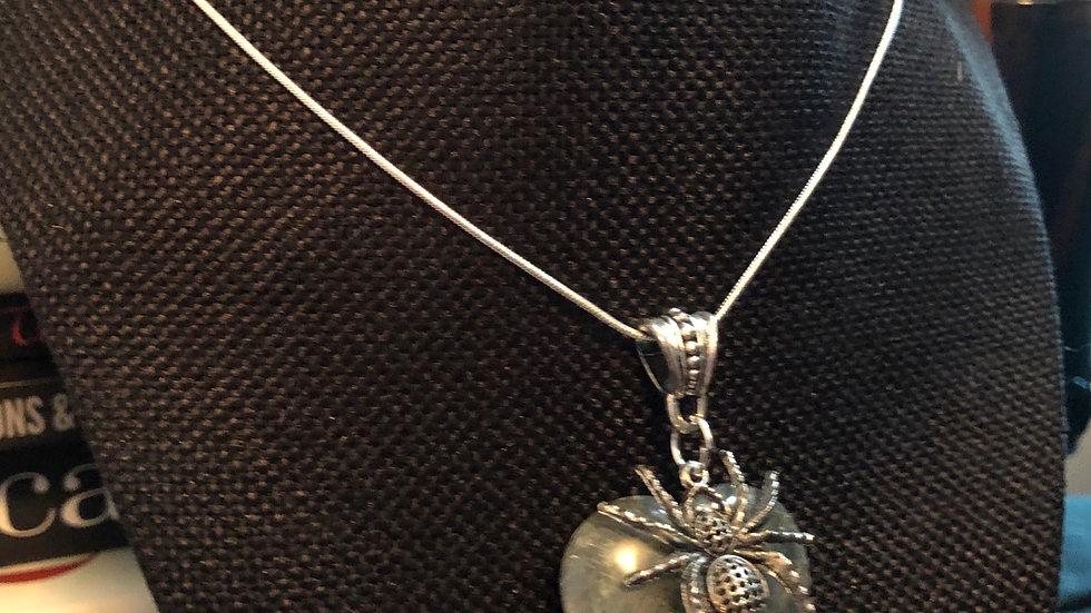 Labradorite Spider Necklace with Silver Chain