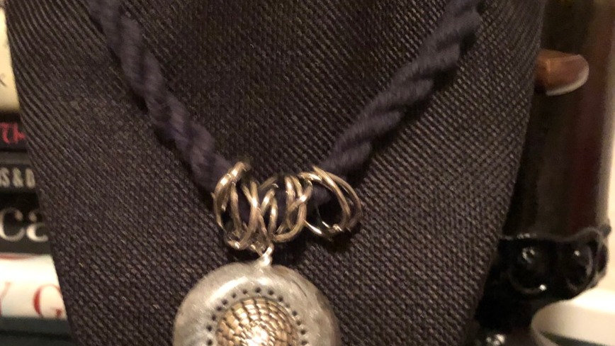 Jewel and Clay Pendant with Black Woven Cord