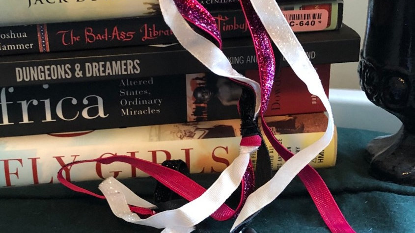 Pink, Silver and Black Handfasting cord with pentagram