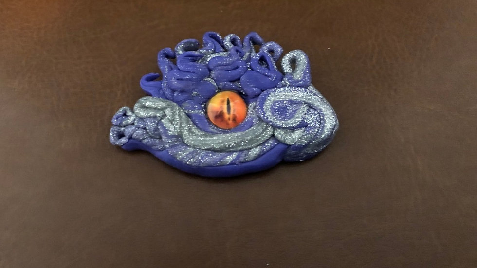 Purple and Silver Dragon's Eye with Glass Center