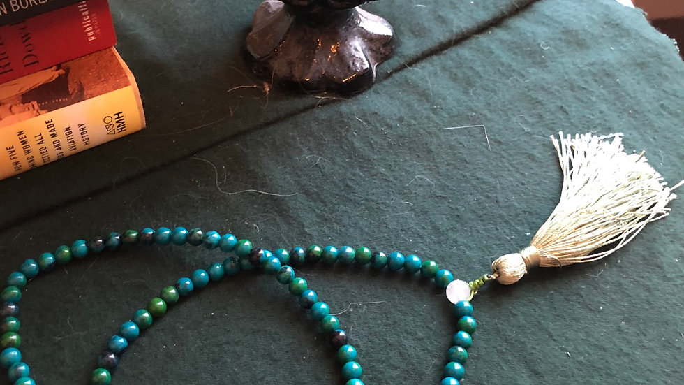 Malachite Mala Beads with Trim