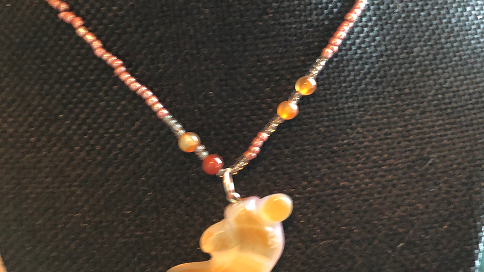 Agate Fish Beaded Necklace