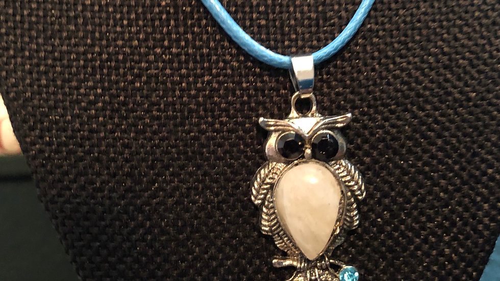 Owl Moonstone Pendant with Blue Cord