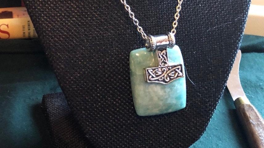 Amazonite Mjolnir Necklace