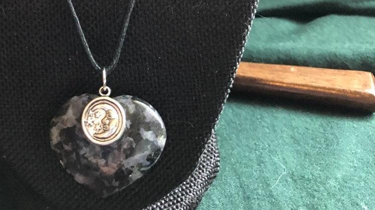 Indigo Gabbro Heart with Silver Moon