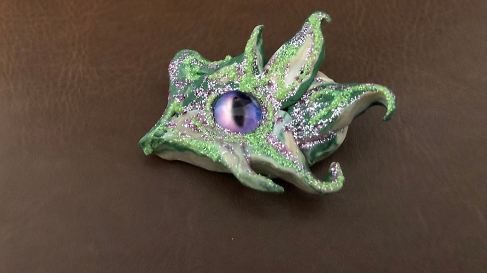Green and Pink Dragon's Eye with Glass Center