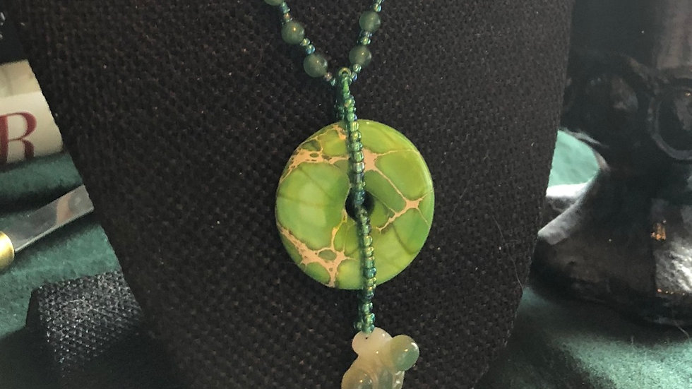 Jasper Ring and Agate Koi Fish Necklace