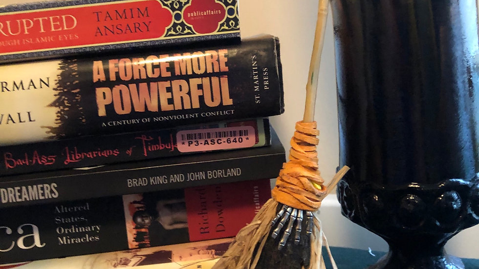 Straw Hand Broom with Orange Cord, Fan and Metal Hand