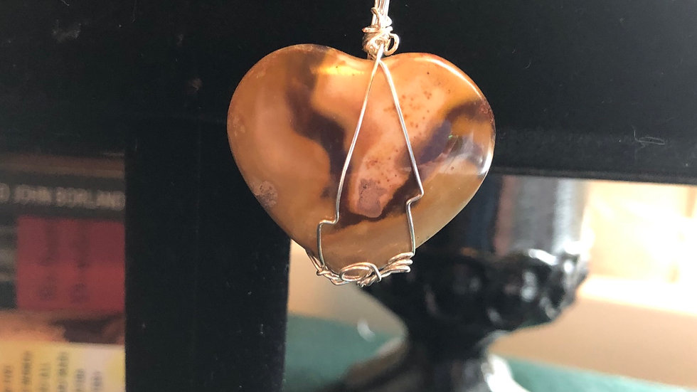 Polychrome Jasper Wire-Wrapped Heart Pendant