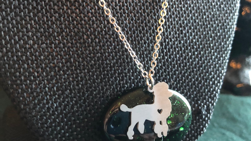 Poodle on Green Goldstone Necklace