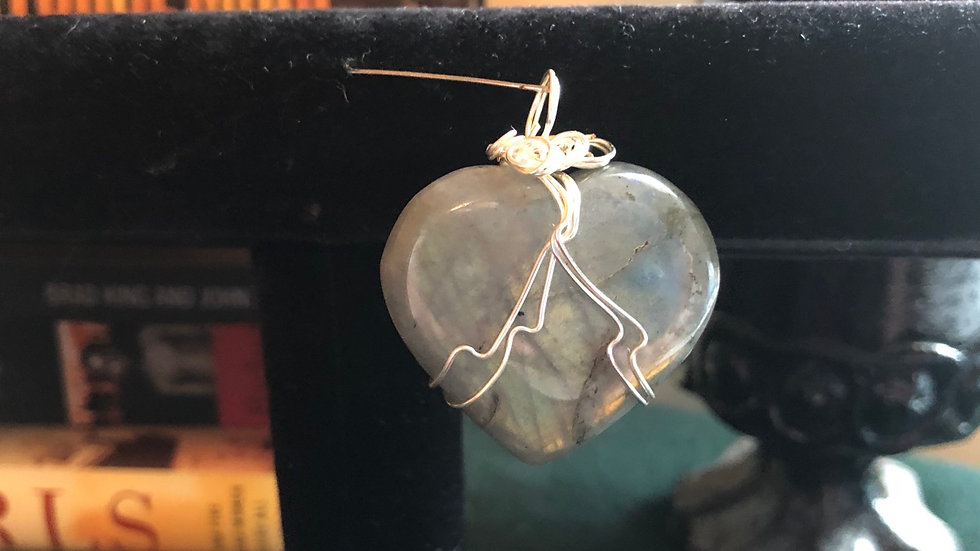 Labradorite Wire-Wrapped Heart Pendant
