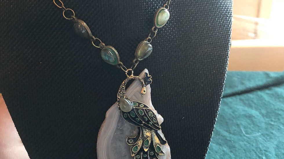 Agate Slice Peacock with Labradorite Necklace