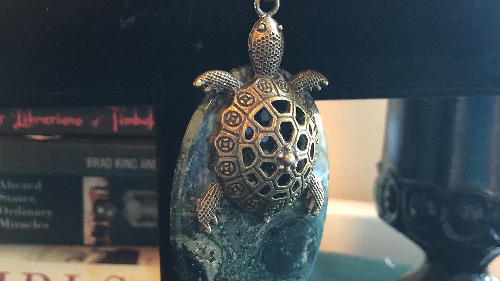 Kambaba Jasper Turtle Pendant