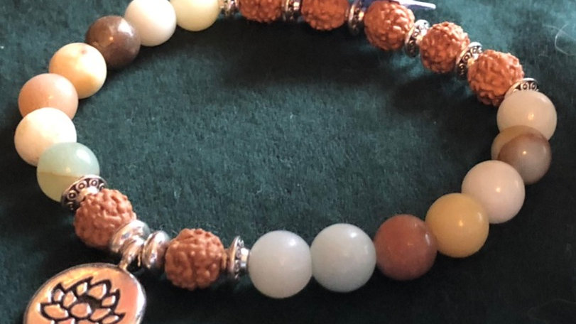 Boddhi bead and stone Lotus Bracelet