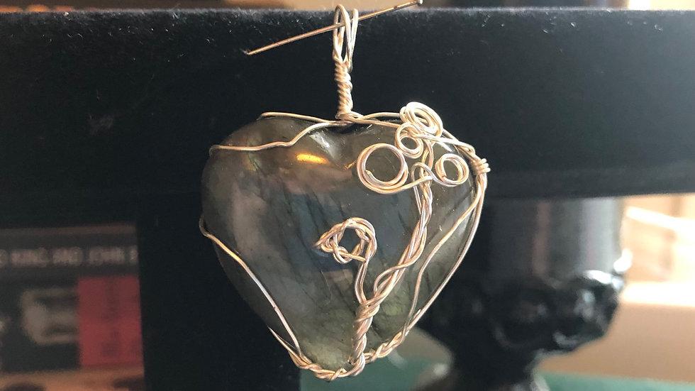 Wirewraped Labadorite Heart Charm