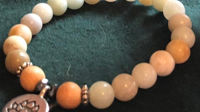 Green and wood stone Lotus charm bracelet
