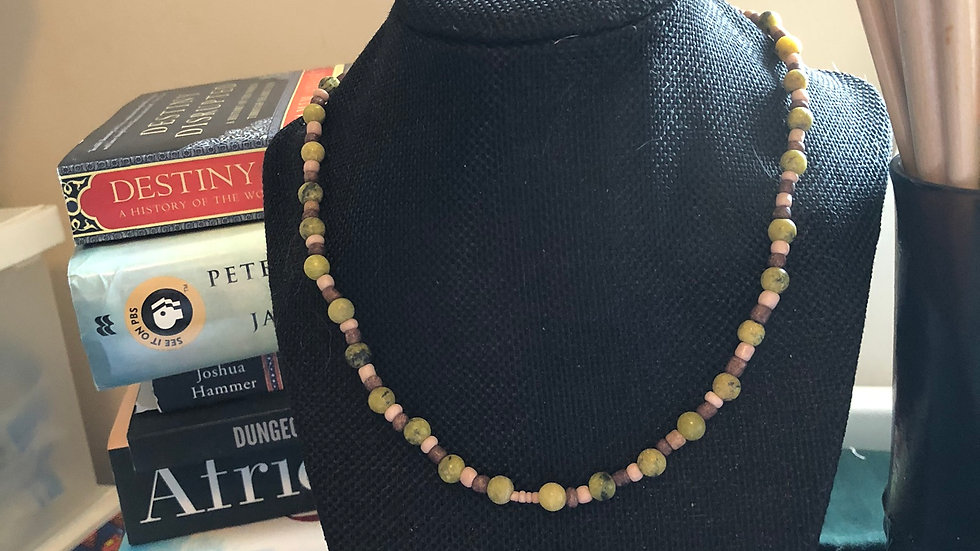 New Jade and Serpentinite Beaded Necklace