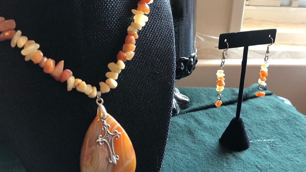 Red Aventurine Banded Agate Necklace and Earring Set