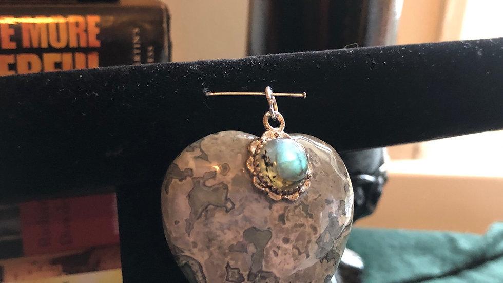 Ocean Jasper Heart with Labradorite Accent Pendant