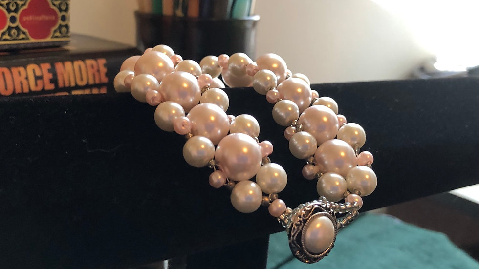 Pearl and Pink Bead Bracelet