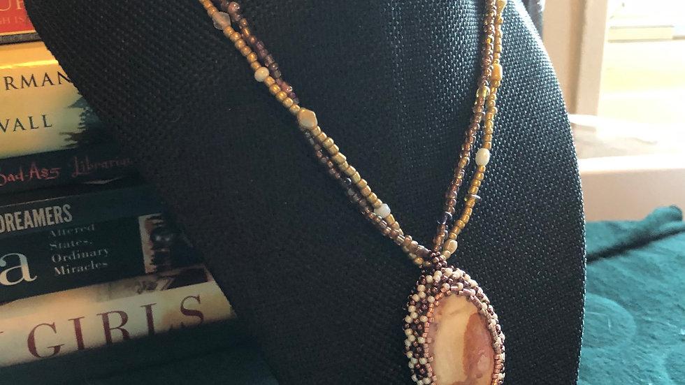 Polychrome Jasper Crocheted Necklace