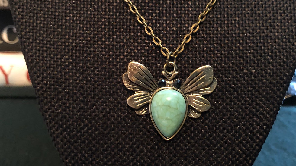 Bee Dyed Howlite Pendant with Chain