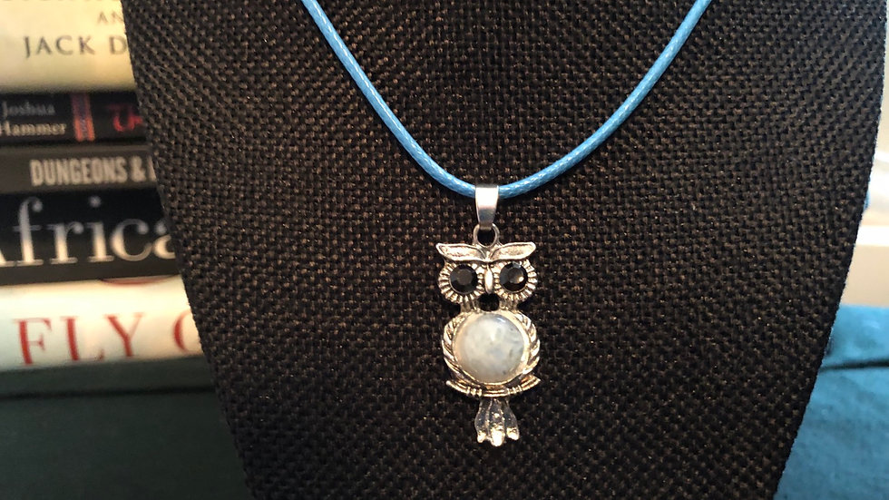 Moonstone Owl Pendant with Blue Cord