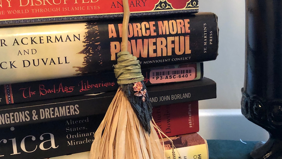 Straw Hand  Fan with Green Cord and Gold Plated Rose